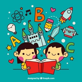 ninos-leyendo-historias-maravillosas-en-estilo-lineal_23-2147543458